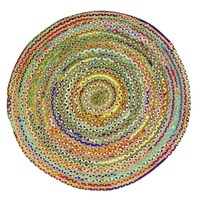 CHINDI RUG Indian Design Recycled Floor Rug,  Round Small