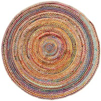 CHINDI RUG Indian Design Recycled Floor Rug, Round Medium