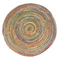 CHINDI RUG Indian Design Recycled Floor Rug, Round Large
