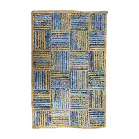 CHINDI TRELLIS Indian Design Recycled Floor Rug, Crosshatch