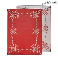 TRACKS Aboriginal Design Recycled Mat, Red & White