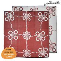 JOURNEYS Aboriginal Design Recycled Mat, Burgundy & White