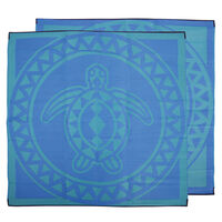TURTLE CIRCLE Torres Strait Island Design Recycled Mat, Blue & Green