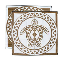 TURTLE CIRCLE Torres Strait Island Design Mat, Bronze & White
