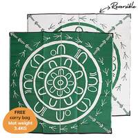 THE YARNING CIRCLE Aboriginal Design Recycled Mat, Green & White