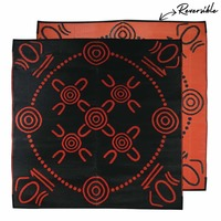 GATHERINGS Aboriginal Design Recycled Mat, Orange & Black