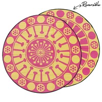 EUCALYPTUS FLOWER Aboriginal Design Recycled Mat, Yellow & Pink