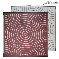 WATER DREAMING Aboriginal Design Recycled Mat, Red Wine & White