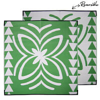 LALOLAGI Pacific Island Samoa Design Recycled Mat, Green & White