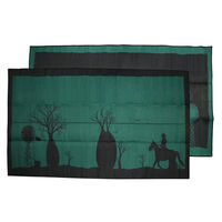 BOAB TREE Australia Design Recycled Mat, Teal Green & Black