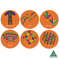ANIMALS & NATURE Aboriginal design - Set of 6  individual seating recycled mats