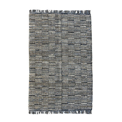 CHINDI DENIM Indian Design Recycled Floor Rug, Patches
