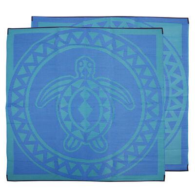 Turtle Circle Torres Strait Island Design Mat Blue
