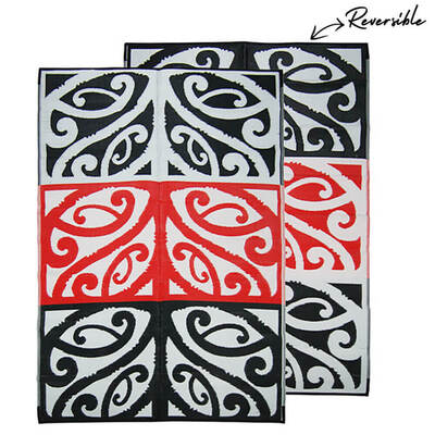 MANGOPARE New Zealand Design Recycled Mat, Red, White & Black