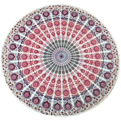 MANDALA Beach Throw Rug, Sunset Red
