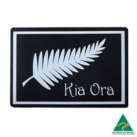 KIA ORA New Zealand Design Recycled Door Mat, Black & White