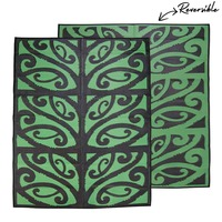 MANGOPARE New Zealand Design Recycled Mat, Black & Green