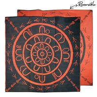 THE YARNING CIRCLE Aboriginal Design Recycled Mat, Orange & Black
