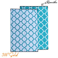 MOROCCAN Recycled Mat, Teal & White