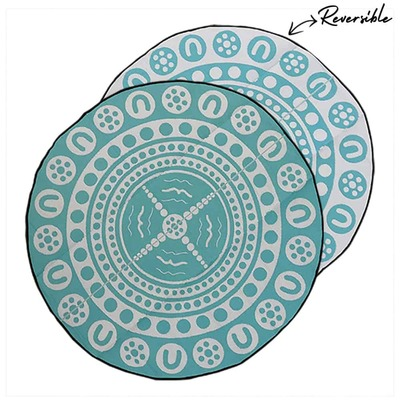 GARRIMA - Aboriginal Design Recycled Mat, Teal & White