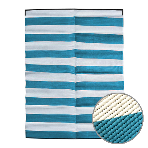 STRIPES Recycled Mat, Turquoise & White