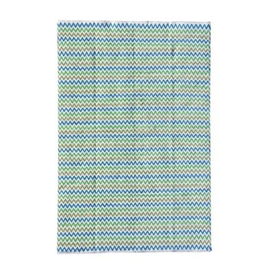 COTTON Indian Design Recycled Floor Rug, Chevron, Green & Blue