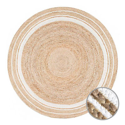 PEACE JUTE Indian Design Recycled Floor Rug, Natural & White
