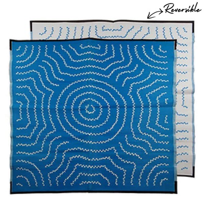 WATER DREAMING Aboriginal Design Recycled Mat, Blue & White