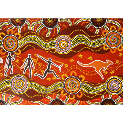 KANGAROO HUNT Giant Educational, Aboriginal Puzzle Mat